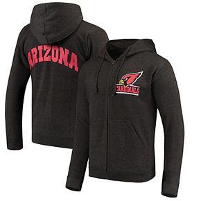 Men's Heathered Charcoal Arizona Cardinals Quarterback Full-Zip Hoodie