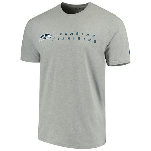 Men's Under Armour Heathered Gray Seattle Seahawks Combine Authentic Team Logo Training Tri-Blend Performance T-Shirt
