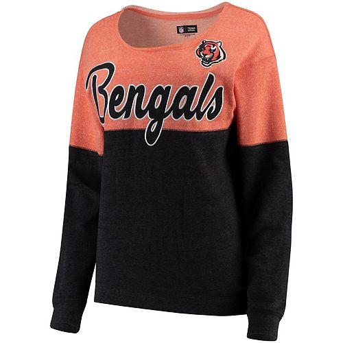 Women's 5th & Ocean by New Era Orange/Black Cincinnati Bengals Fleece Tri-Blend Sweatshirt