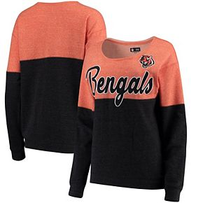 Women's 5th & Ocean by New Era Orange/Black Cincinnati Bengals Fleece Tri-Blend Sweatshirt