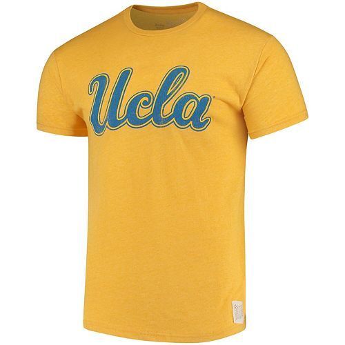 Men's Original Retro Brand Gold UCLA Bruins Script School Logo Mock Twist T-Shirt