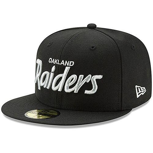 Men's New Era Black Oakland Raiders Script Logo Omaha 59FIFTY Fitted Hat