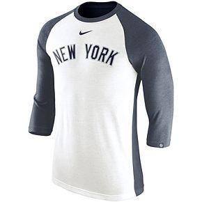 Men's Nike White/Navy New York Yankees Wordmark Tri-Blend Raglan 3/4-Sleeve T-Shirt