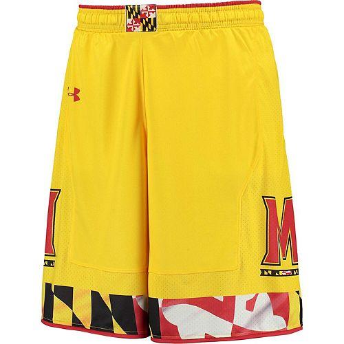 Men's Under Armour Gold Maryland Terrapins Replica Basketball Shorts