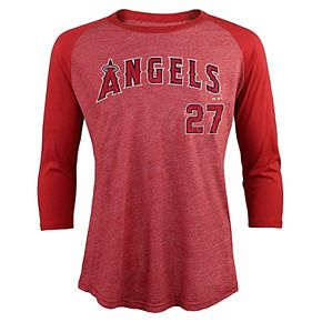 Men's Majestic Threads Mike Trout Red Los Angeles Angels Tri-Blend 3/4-Sleeve Raglan Name & Number T-Shirt