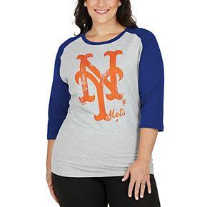 Women's Majestic Gray/Royal New York Mets Plus Size Winning Team Raglan T-Shirt