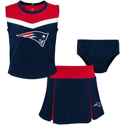 Girls Toddler Navy/Red New England Patriots Two-Piece Spirit Cheerleader Set with Bloomers