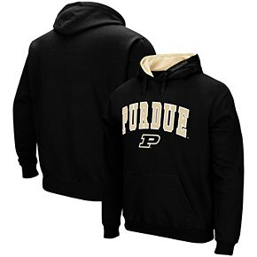 Men's Colosseum Black Purdue Boilermakers Arch & Logo Tackle Twill Pullover Hoodie