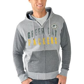 Men's G-III Sports by Carl Banks Heathered Gray Green Bay Packers Safety Tri-Blend Full-Zip Hoodie