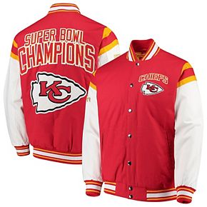 Men's G-III Sports by Carl Banks Red/White Kansas City Chiefs Home Team Cotton Canvas Varsity Jacket