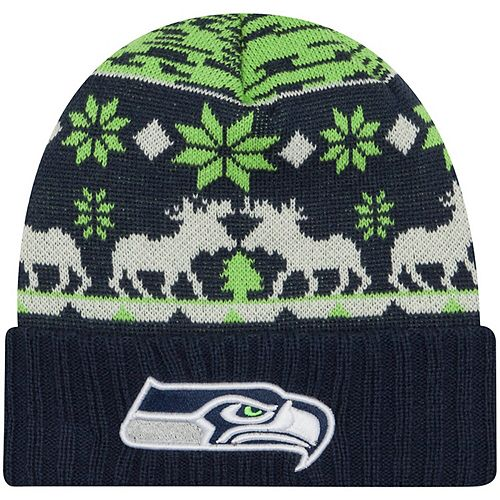 Men's New Era College Navy Seattle Seahawks Mooser Cuffed Knit Hat