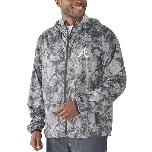 Men's G-III Sports by Carl Banks Charcoal Atlanta Braves Wind Chill Lightweight Full-Zip Jacket
