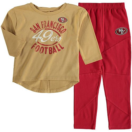 best authentic f21c8 a6d88 Girl's Toddler Gold/Scarlet San Francisco 49ers Fan Gear Football  Sweetheart Long Sleeve T-Shirt and Pant Set