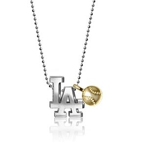 Women's Alex Woo Los Angeles Dodgers Little MLB Sterling Silver Necklace with Mini Gold Baseball Addition