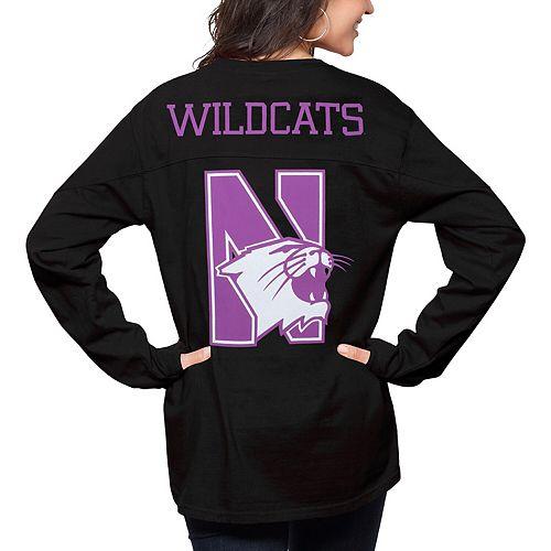 Women's Pressbox Black Northwestern Wildcats The Big Shirt Oversized Long Sleeve T-Shirt