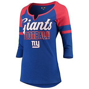 Women's New Era Royal/Red New York Giants Glitter Slub 3/4-Sleeve Raglan V-Notch T-Shirt