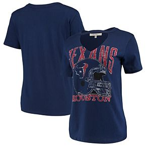 Women's Junk Food Navy Houston Texans Fashion Cut Out V-Neck T-Shirt