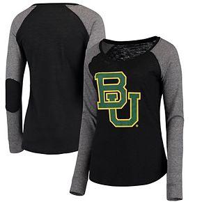 Women's Black/Gray Baylor Bears Preppy Elbow Patch Slub Long Sleeve T-Shirt