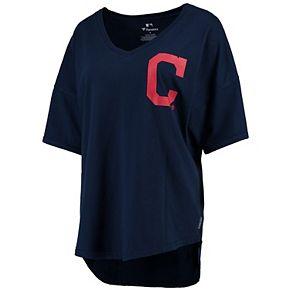 Women's Navy Cleveland Indians Oversized Spirit Jersey V-Neck T-Shirt