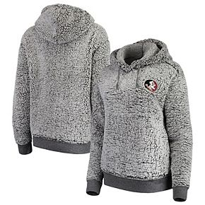 Women's Heathered Gray Florida State Seminoles Sherpa Inside & Out Pullover Hoodie