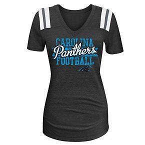 Women's 5th & Ocean by New Era Black Carolina Panthers 4th Quarter Glitter Tri-Blend V-Neck T-Shirt