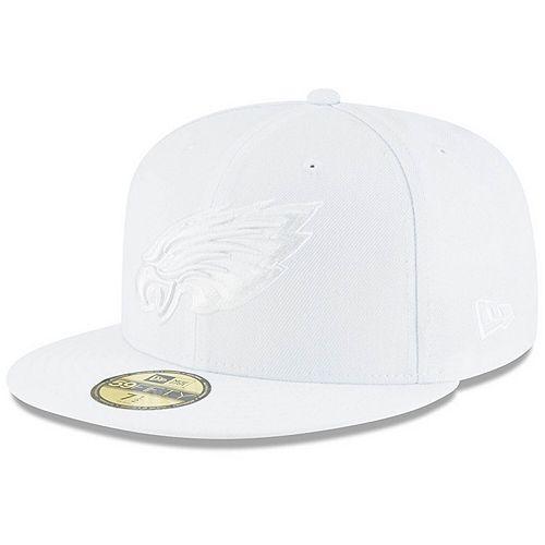 Men's New Era Philadelphia Eagles White on White 59FIFTY Fitted Hat