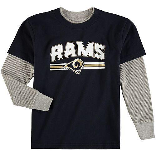 Preschool Navy Los Angeles Rams Fan Gear Bleachers Faux Layer Long Sleeve T-Shirt