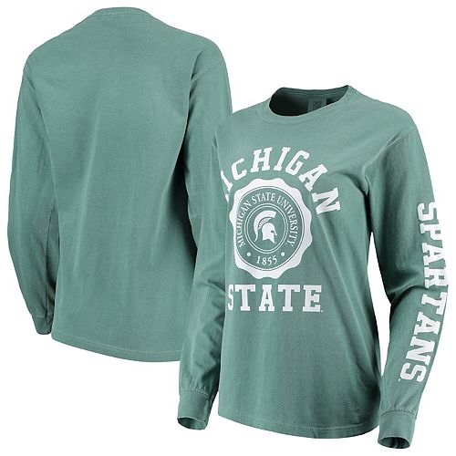 Women's Green Michigan State Spartans Oversized Comfort Colors University Seal Long Sleeve T-Shirt