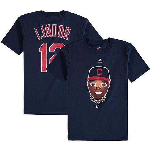 Youth Majestic Francisco Lindor Navy Cleveland Indians Emoji Name & Number T-Shirt