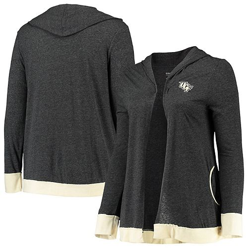 Women's Colosseum Charcoal UCF Knights Plus Size Steeplechase Open Hooded Tri-Blend Cardigan