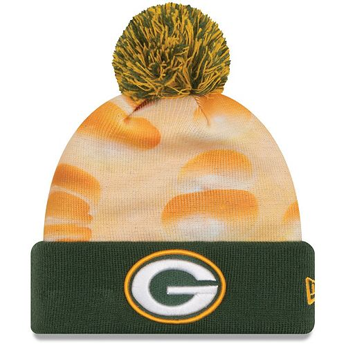 Youth New Era Green Green Bay Packers All Out Cuffed Knit Hat with Pom
