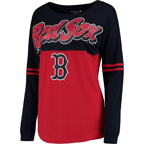 Women's 5th & Ocean by New Era Red Boston Red Sox MLB Baby Jersey Varsity Crew Boyfriend Long Sleeve T-Shirt