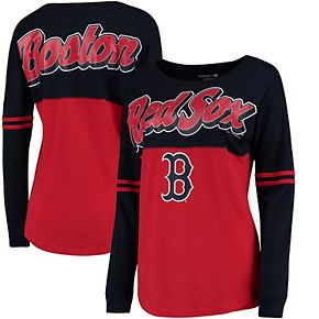 Women's 5th & Ocean by New Era Red Boston Red Sox MLB Baby Jersey Varsity Crew Boyfriend Long Sleeve T-Shirt