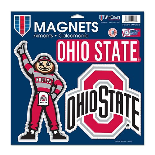 """WinCraft Ohio State Buckeyes 11"""" x 11"""" 3-Pack Car Magnet Set"""