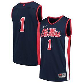 Men's Nike #1 Navy Ole Miss Rebels Team Basketball Jersey