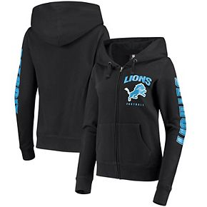 Women's New Era Black Detroit Lions Playbook Glitter Sleeve Full-Zip Hoodie