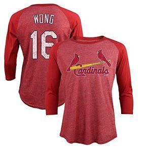 Men's Majestic Threads Kolten Wong Red St. Louis Cardinals Tri-Blend 3/4-Sleeve Raglan Name & Number T-Shirt
