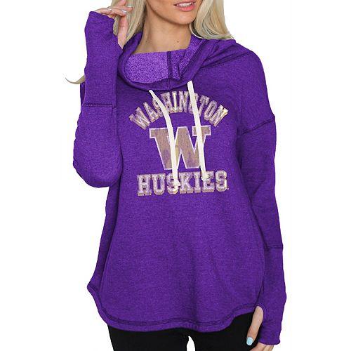 Women's Original Retro Brand Purple Washington Huskies Funnel Neck Pullover Sweatshirt