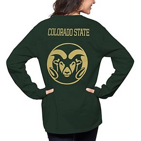 Women's Pressbox Green Colorado State Rams The Big Shirt Oversized Long Sleeve T-Shirt