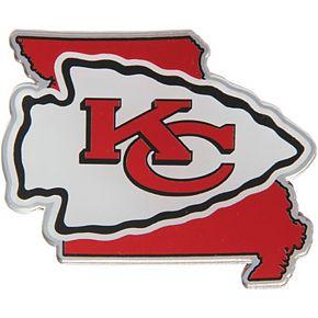 Kansas City Chiefs State Shape Acrylic Metallic Auto Emblem