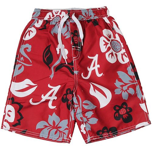 Preschool Wes & Willy Crimson Alabama Crimson Tide Floral Swim Trunks