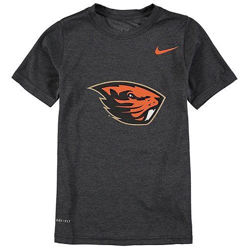 Youth Nike Anthracite Oregon State Beavers Logo Legend Performance T-Shirt