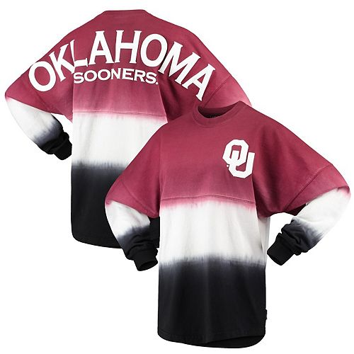 Women's Crimson Oklahoma Sooners Ombre Long Sleeve Dip-Dyed Spirit Jersey