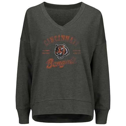 Women's Majestic Charcoal Cincinnati Bengals Great Play V-Neck Sweatshirt