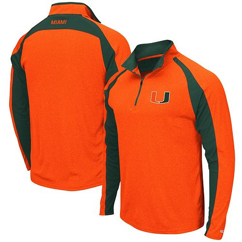 Men's Colosseum Heathered Orange Miami Hurricanes The J. Peterman Quarter-Zip Pullover Jacket
