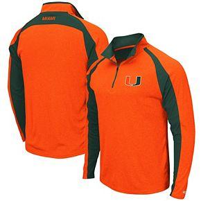 Men's Colosseum Heathered Orange Miami Hurricanes The J. Peterman Quarter-Zip Pullover Jacket