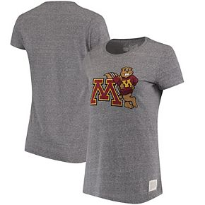 Women's Original Retro Brand Heathered Gray Minnesota Golden Gophers Tri-Blend Crewneck T-Shirt