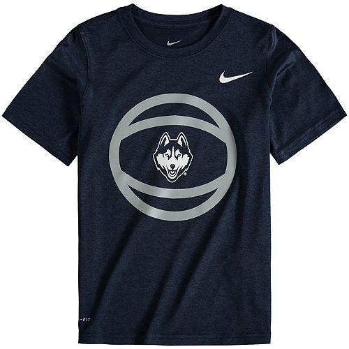 Youth Nike Navy UConn Huskies Basketball and Logo Performance T-Shirt