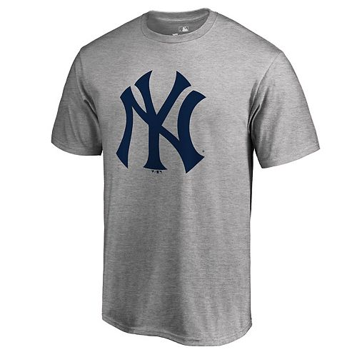 Men's Heathered Gray New York Yankees Primary Logo T-Shirt