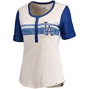 Women's Fanatics Branded Cream/Royal Los Angeles Dodgers True Classics Henley T-Shirt